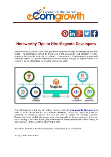 Noteworthy Tips to Hire Magento Developers