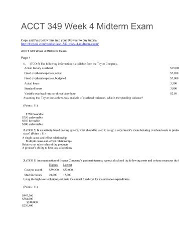 ACCT 349 Week 4 Midterm Exam