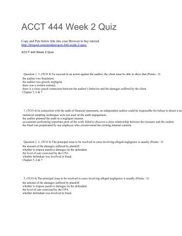 ACCT 444 Week 2 Quiz