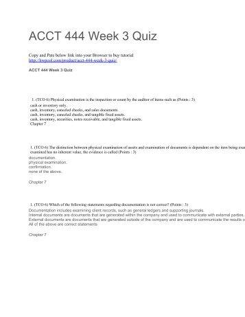 ACCT 444 Week 3 Quiz