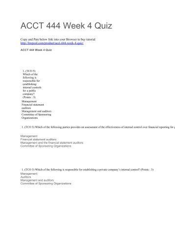 ACCT 444 Week 4 Quiz