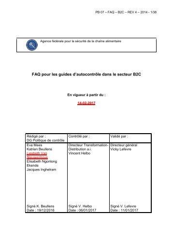 FAQ pour les guides d'autocontrôle dans le secteur B2C