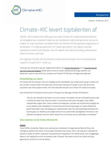 Climate-KIC levert toptalenten af