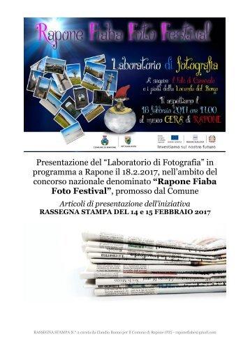 """""""LABORATORIO DI FOTOGRAFIA"""" IL 18.2.2017 A RAPONE - RASSEGNA STAMPA DI PRESENTAZIONE EVENTO"""