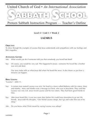 SABBATH SCHOOL - Members Site - United Church of God
