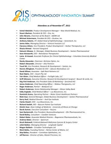 2012 Attendees - Ophthalmology Innovation Summit