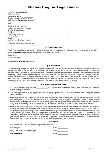 Mietvertrag für Lagerräume