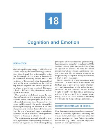Chapter 18: Cognition and Emotion - Psychology Press