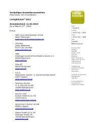 Vorläufiges Ausstellerverzeichnis Preliminary list of ... - Cocina Integral