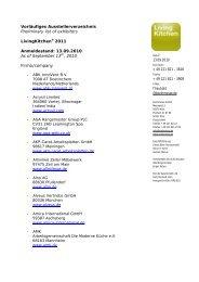 Vorläufiges Ausstellerverzeichnis Preliminary list ... - moebelkultur.de