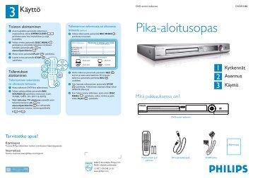 Philips Lecteur/enregistreur de DVD - Guide de mise en route - FIN