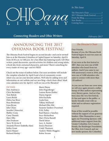 ANNOUNCING THE 2017 OHIOANA BOOK FESTIVAL!