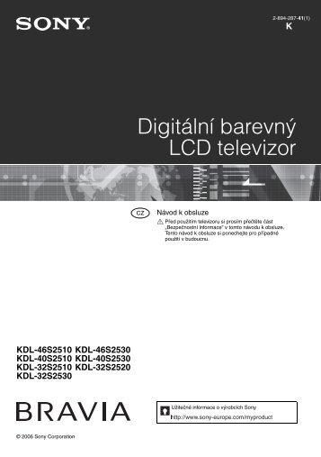 Sony KDL-46S2510 - KDL-46S2510 Istruzioni per l'uso Ceco