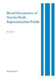 Board Governance of Not for Profit Superannuation Funds