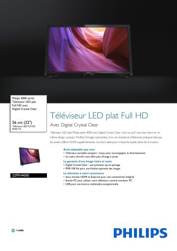 Philips TV LED Philips 22PFH4000 FULL HD 100HZ - fiche produit