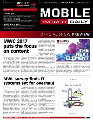 MWC 2017 puts the focus on content