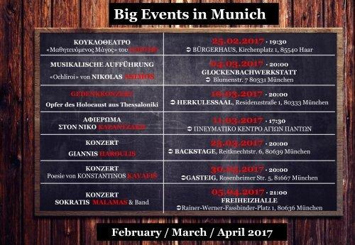 Big Events in Munich: February / March / April 2017