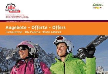 Angebote - Offerte - Offers - Hochpustertal