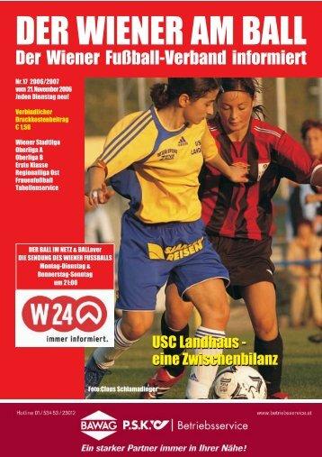 wienerliga.at bringt den Ball ins Netz - Wiener Fußball Verband