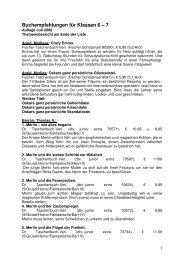 Buchempfehlungen für Klassen 6 – 7 - Stadt Rüsselsheim