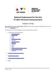 National Endowment for the Arts FY 2017 Fall Grant Announcement
