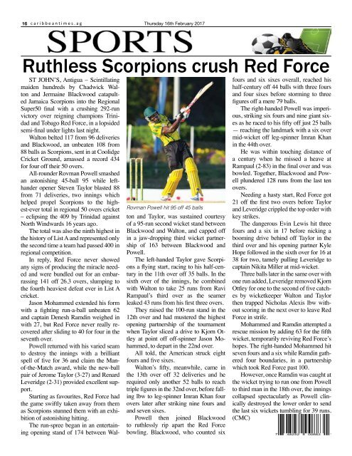 Caribbean Times 99th Issue - Thursday 16th February 2017