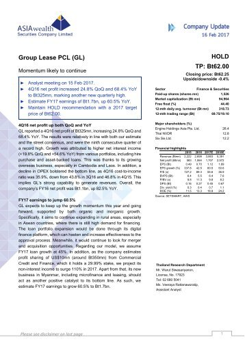 Group Lease PCL (GL) HOLD TP Bt62.00