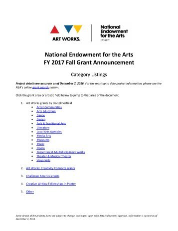 an analysis of the national endowment for the arts United states lobbying to national endowment for the arts, 2018.