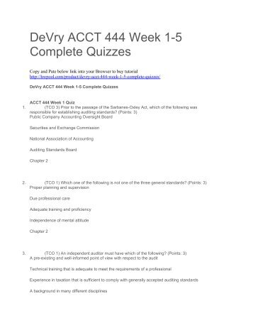 DeVry ACCT 444 Week 1-5 Complete Quizzes