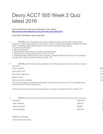 Devry ACCT 505 Week 2 Quiz latest 2016