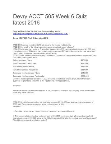 Devry ACCT 505 Week 6 Quiz latest 2016