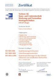 Techron AG Stanz- und Umformtechnik Werkzeug und Formenbau