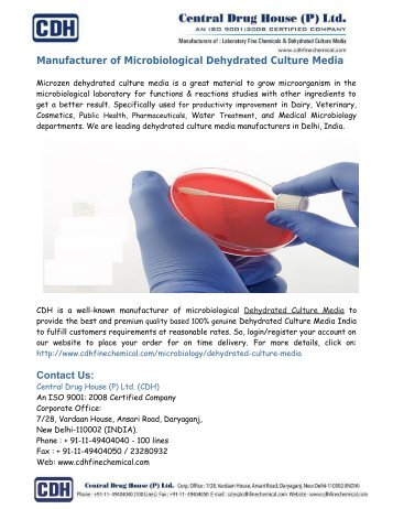 Manufacturer of Microbiological Dehydrated Culture Media