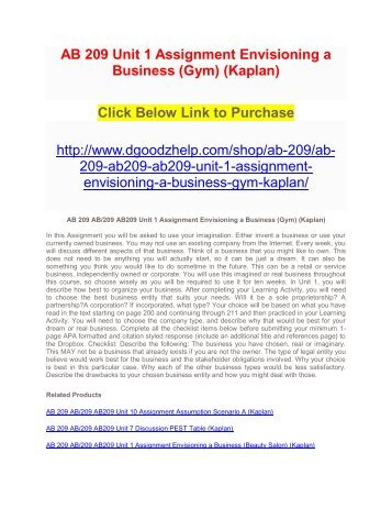 AB 209 Unit 1 Assignment Envisioning a Business (Gym) (Kaplan)