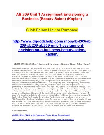 AB 209 Unit 1 Assignment Envisioning a Business (Beauty Salon) (Kaplan)