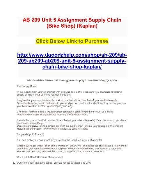 AB 209 Unit 5 Assignment Supply Chain (Bike Shop) (Kaplan)
