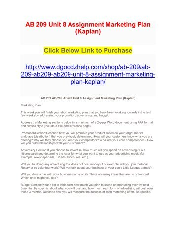 AB 209 Unit 8 Assignment Marketing Plan (Kaplan)