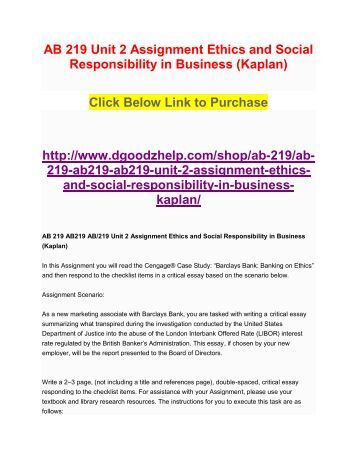 ethics and corporate responsibility essay