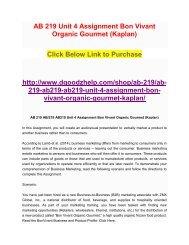 AB 219 Unit 4 Assignment Bon Vivant Organic Gourmet (Kaplan)
