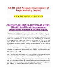 AB 219 Unit 5 Assignment Antecedents of Target Marketing (Kaplan)