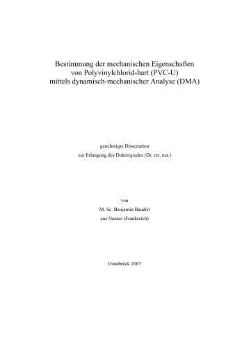 Bestimmung der mechanischen Eigenschaften von Polyvinylchlorid ...