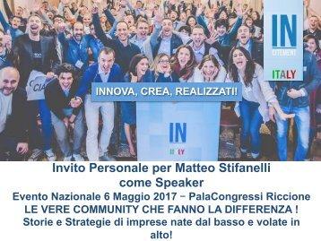 Invito Personale per Matteo Stifanelli come Speaker