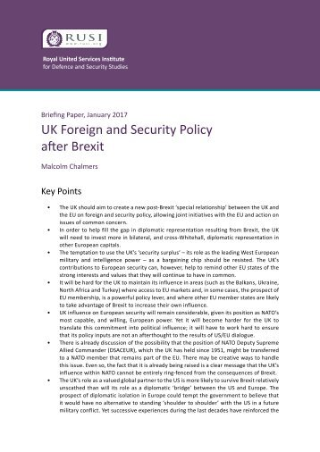 UK Foreign and Security Policy after Brexit
