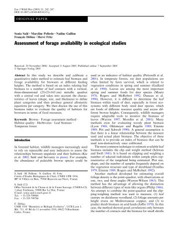 Assessment of forage availability in ecological studies - CEBC - CNRS