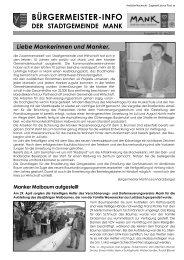 Bürgermeisterinfo Mai 2011 - Stadtgemeinde Mank