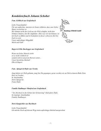Kondolenzbuch Johann Schober - Bestattung STRANZ Grafenbach