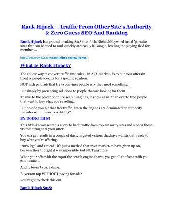 Rank Hijack review - Rank Hijack +100 bonus items