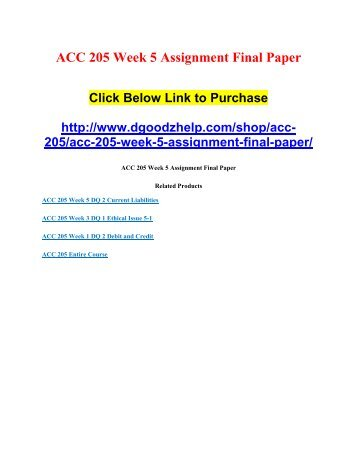 ACC 205 Week 5 Assignment Final Paper