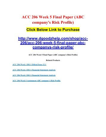ACC 206 Week 5 Final Paper (ABC company's Risk Profile)