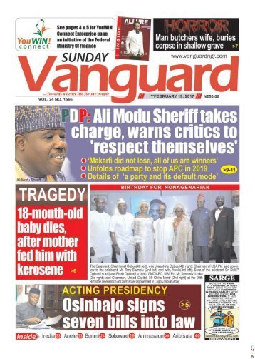 19022017 - PDP: Ali Modu Sheriff takes charge, warns critics to respect themelves